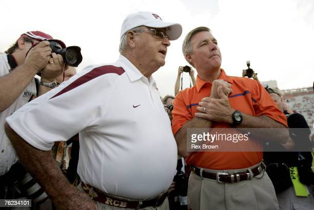 Clemson head coach Tommy Bowden talks with Florida State head coach Bobby Bowden prior to the Tigers win over the Seminoles Sept 16 at Doak Campbell...