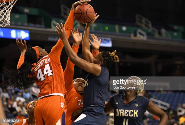 Clemson Lady Tigers forward/center Kobi Thornton blocks the shot of Georgia Tech Yellow Jackets guard Kaylan Pugh during the ACC women's tournament...