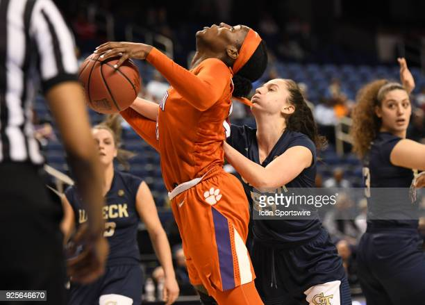 Clemson Lady Tigers forward/center Kobi Thornton is fouled by Georgia Tech Yellow Jackets guard Antonia Peresson under the basket during the ACC...