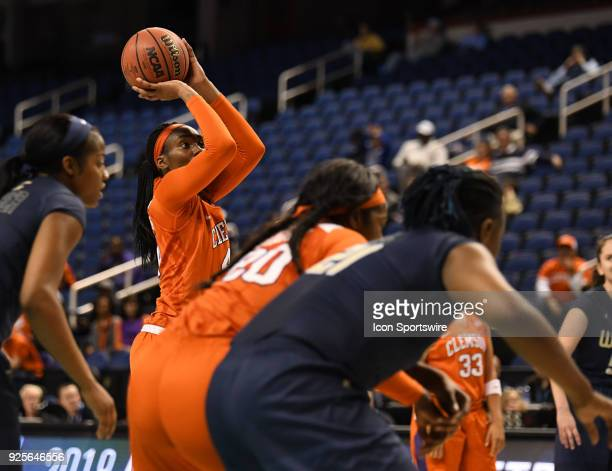 Clemson Lady Tigers forward/center Kobi Thornton shoots a free throw during the ACC women's tournament game between the Clemson Tigers and Georgia...