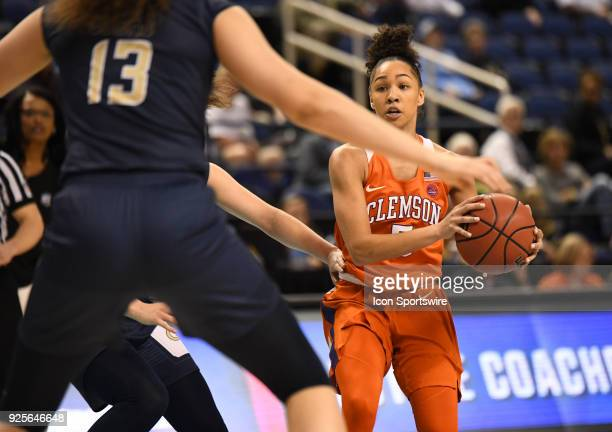 Clemson Lady Tigers guard Danielle Edwards looks to pass during the ACC women's tournament game between the Clemson Tigers and Georgia Tech Yellow...