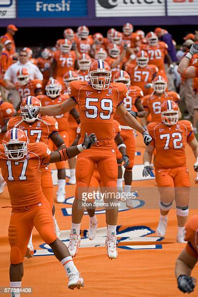 Clemson linebacker Cameron O'Sullivan jumps in the air coming down the hill before their game against Duke The Tigers beat the Blue Devils 317 on Nov...
