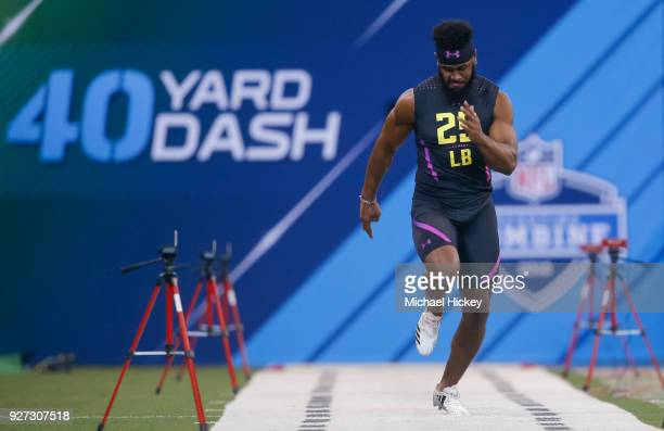 Clemson linebacker Dorian O'Daniel runs in the 40 yard dash during the NFL Scouting Combine at Lucas Oil Stadium on March 4 2018 in Indianapolis...