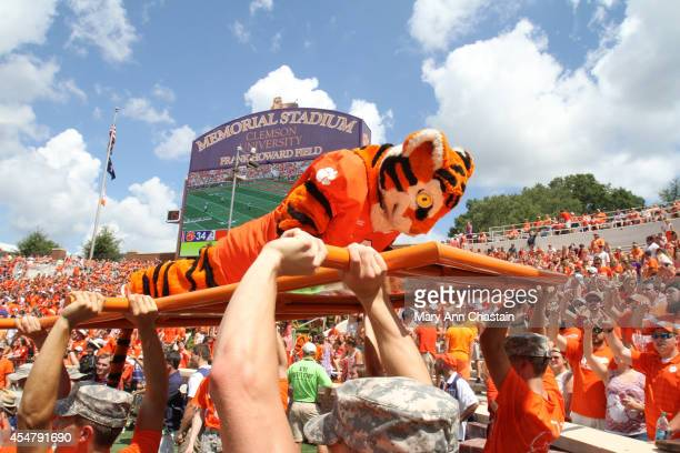 Clemson Mascot The Tiger does his push ups after they scored a touchdown during the first quarter against the South Carolina State Bulldogs on...