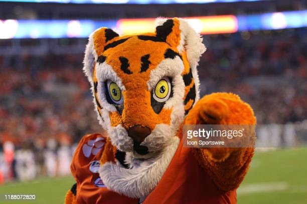 Clemson mascot 'The Tiger' during the ACC football championship game between the Virginia Cavaliers and the Clemson Tigers on December 7 at Bank of...