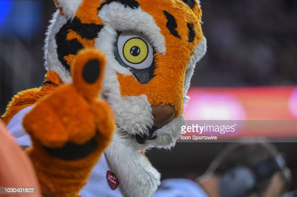 Clemson mascot The Tiger looks on from the endzone during the college football game between the Clemson Tigers and the Texas AM Aggies on September 8...