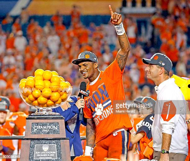 Clemson quarterback and Offensive MVP Deshaun Watson middle and head coach Dabo Swinney right celebrate after defeating Oklahoma 3717 in the Capital...