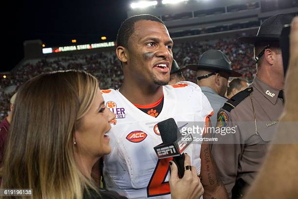 Clemson quarterback Deshaun Watson in a postgame interview with Sam Ponder after an NCAA football game between the Florida State Seminoles and the...