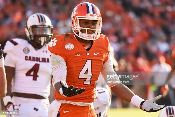 Clemson quarterback Deshaun Watson reacts after a face mask penalty during 2nd half action between the Clemson Tigers and South Carolina Gamecocks at...
