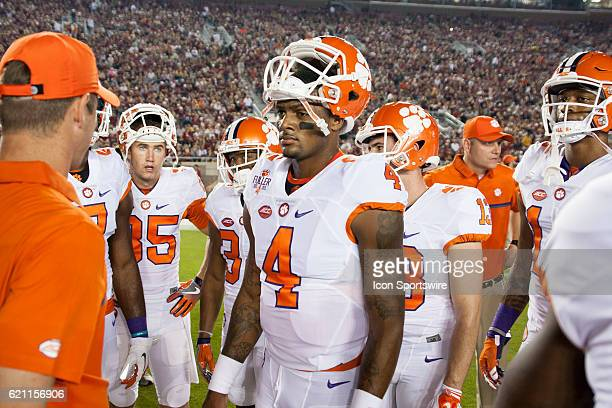 Clemson quarterback Deshaun Watson with his teammates before an NCAA football game between the Florida State Seminoles and the Clemson Tigers on...