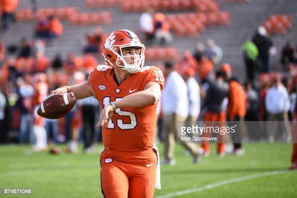 Clemson quarterback Hunter Johnson during pregame between the Clemson Tigers and the Florida State Seminoles at Memorial Stadium in Clemson SC on...