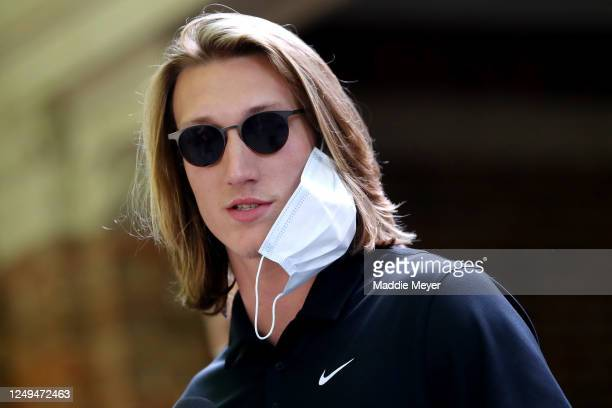 "Clemson quarterback Trevor Lawrence addresses the media before the ""March for Change"" protest at Bowman Field on June 13, 2020 in Clemson, South..."