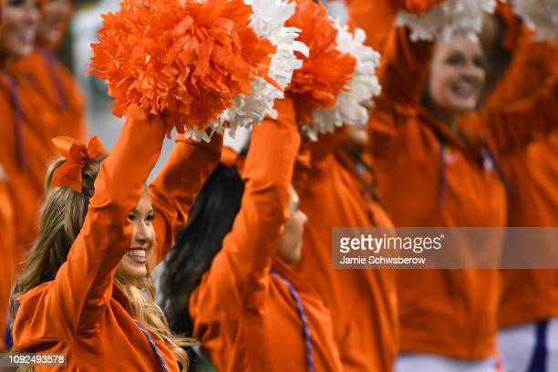 Clemson Tiger cheerleaders perform during the College Football Playoff National Championship held at Levi's Stadium on January 7 2019 in Santa Clara...