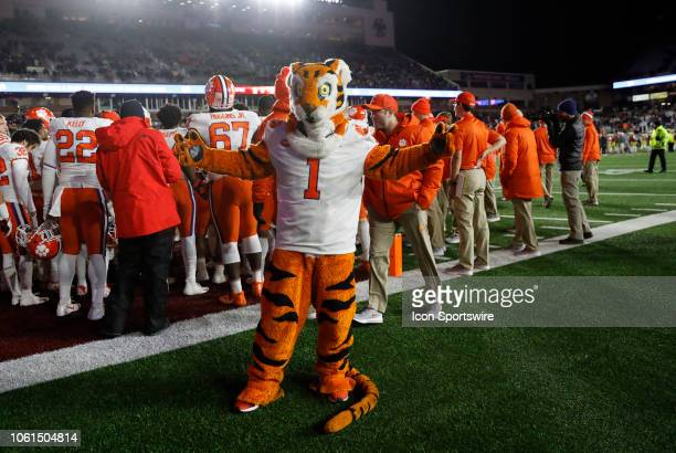 Clemson tiger mascot on the sidelines during a game between the Boson College Eagles and the Clemson University Tigers on November 10 at Alumni...