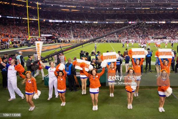 Clemson Tigers cheerleaders cheer against the Alabama Crimson Tide during the College Football Playoff National Championship held at Levi's Stadium...