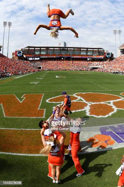 Clemson Tigers cheerleaders perform prior to the start of the Tigers' football game against the Syracuse Orange during the football game at Clemson...