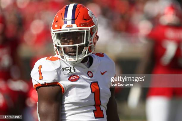 Clemson Tigers cornerback Derion Kendrick looks toward the sideline during the game against the Clemson Tigers and the Louisville Cardinals on...