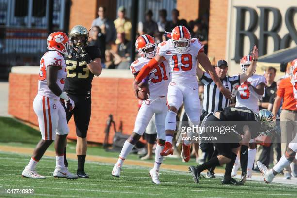 Clemson Tigers defensive back Tanner Muse celebrates an interception against the Wake Forest Demon Deacons on October 6 2018 at BBT Field in...