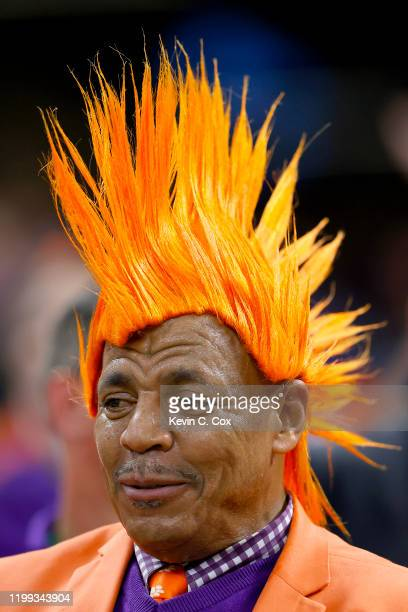 Clemson Tigers fan during the first quarter against the LSU Tigers in the College Football Playoff National Championship game at Mercedes Benz...