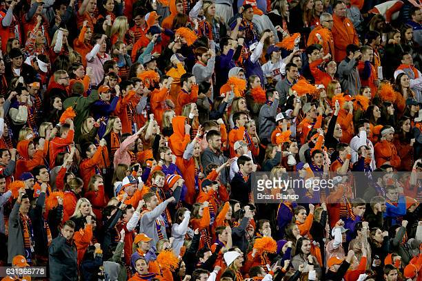 Clemson Tigers fans react during the second half of the 2017 College Football Playoff National Championship Game between the Alabama Crimson Tide and...