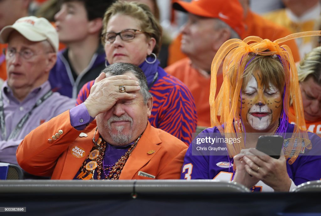 Clemson Tigers fans react in the second half of the AllState Sugar Bowl against the Alabama Crimson Tide at the Mercedes-Benz Superdome on January 1, 2018 in New Orleans, Louisiana.