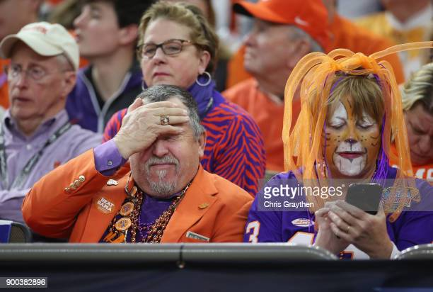 Clemson Tigers fans react in the second half of the AllState Sugar Bowl against the Alabama Crimson Tide at the MercedesBenz Superdome on January 1...