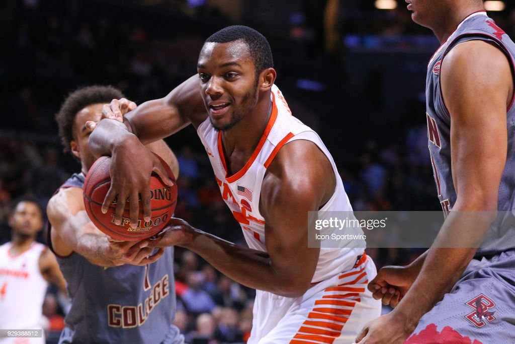 Clemson Tigers forward Aamir Simms (25) battles for the ball during the second half of the ACC Tournament College Basketball Game between the Clemson Tigers and the Boston College Eagles on March 8, 2018, at the Barclays Center in Brooklyn, NY.