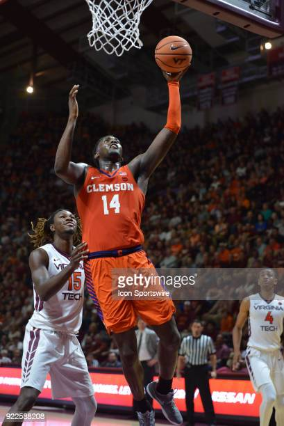 Clemson Tigers forward Elijah Thomas shoots a shot during a college basketball game between the Virginia Tech Hokies and the Clemson Tigers on...