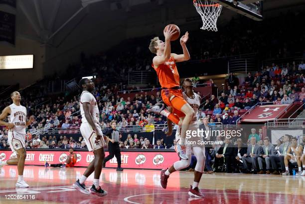 Clemson Tigers forward Hunter Tyson drives to the hoop during a game between the Boston College Eagles and the Clemson Tigers on February 22 at Conte...