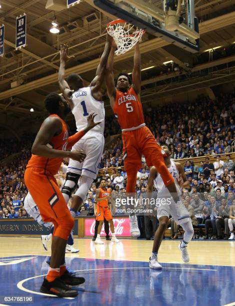 Clemson Tigers forward Jaron Blossomgame and Duke Blue Devils forward Harry Giles during men's basketball game between the Clemson Tigers and the...