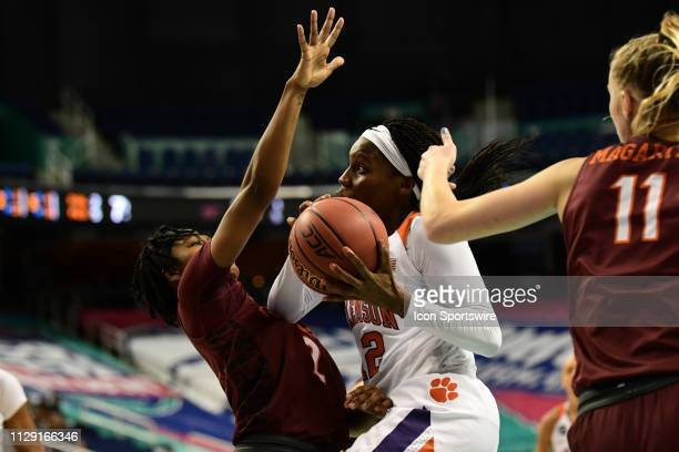 Clemson Tigers guard Aliyah Collier drives to the basket during the ACC Women's basketball tournament between the Clemson Tigers and the Virginia...