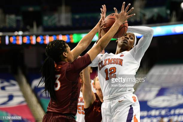 Clemson Tigers guard Aliyah Collier loses the ball on a drive during the ACC Women's basketball tournament between the Clemson Tigers and the...
