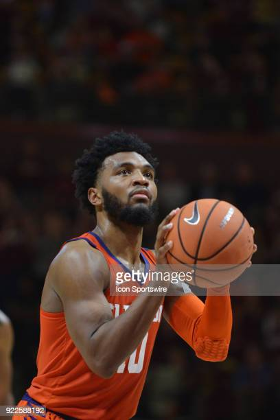 Clemson Tigers guard Gabe DeVoe shoots a free throw during a college basketball game between the Virginia Tech Hokies and the Clemson Tigers on...