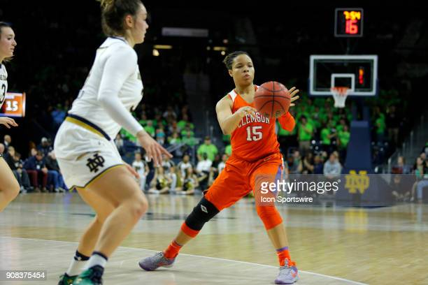 Clemson Tigers guard Jaia Alexander fires the pass to the corner during the game between the Clemson Tigers and Notre Dame Fighting Irish on January...