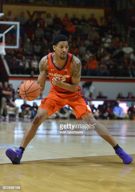 Clemson Tigers guard Scott Spencer dribbles during a college basketball game between the Virginia Tech Hokies and the Clemson Tigers on February 21...