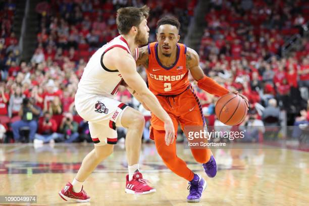 Clemson Tigers guard Shelton Mitchell with the ball guarded by North Carolina State Wolfpack guard Braxton Beverly during the 2nd half of the NC...