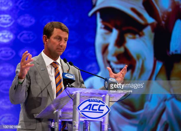 Clemson Tigers head coach Dabo Swinney addresses the media during the ACC Football Kickoff on July 19 at The Westin Charlotte in Charlotte NC