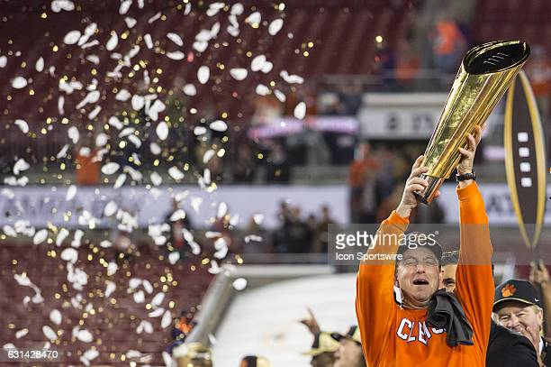 Clemson Tigers head coach Dabo Swinney celebrates the win after the College Football Playoff National Championship game between the Alabama Crimson...