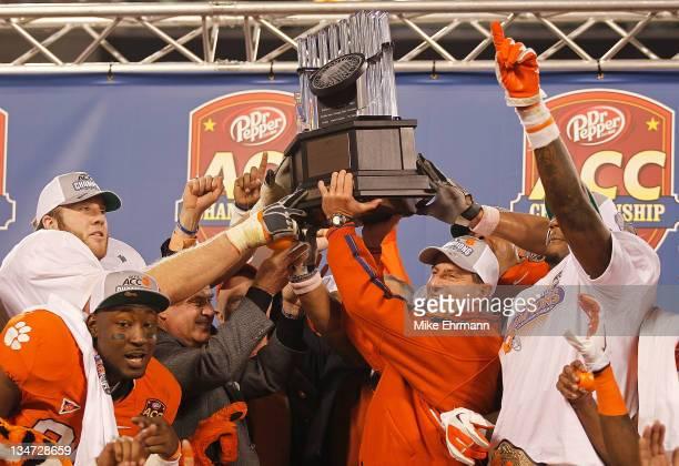 Clemson Tigers head coach Dabo Swinney celebrates winning the ACC Championship game against the Virginia Tech Hokies at Bank of America Stadium on...