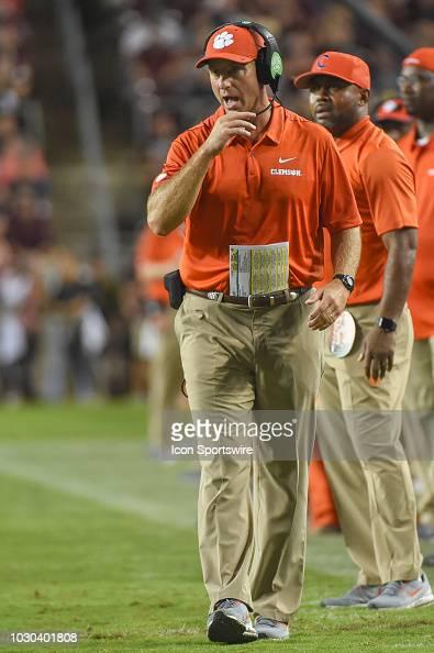 Clemson Tigers head coach Dabo Swinney coaches from the ...