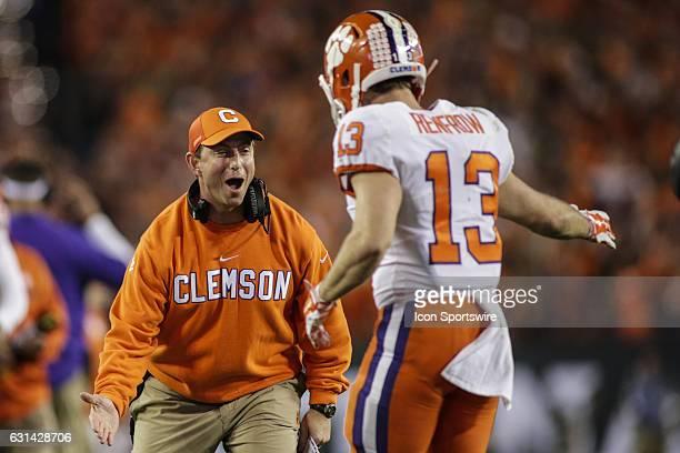 Clemson Tigers head coach Dabo Swinney congratulates Clemson Tigers wide receiver Hunter Renfrow after a touchdown during the College Football...