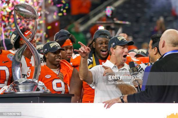 Clemson Tigers head coach Dabo Swinney is interviewed after the CFP Semifinal Cotton Bowl Classic game between the Notre Dame Fighting Irish and the...