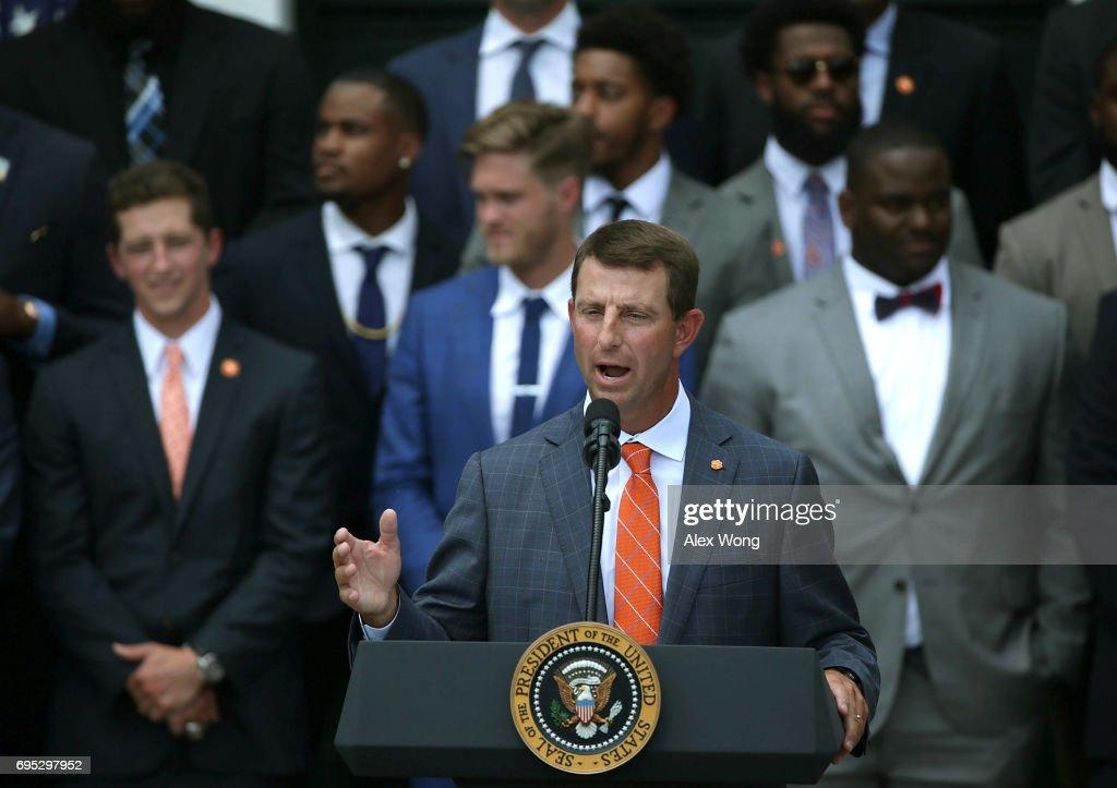 Clemson Tigers head coach Dabo Swinney speaks during a ...