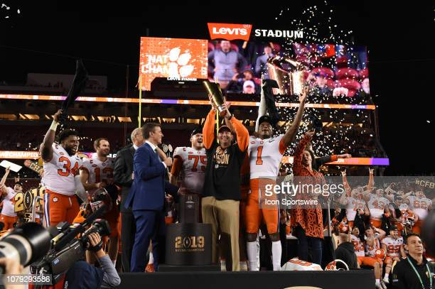 Clemson Tigers head coach Dabo Swinney with the championship trophy after the Clemson Tigers defeated the Alabama Crimson Tide in the College...