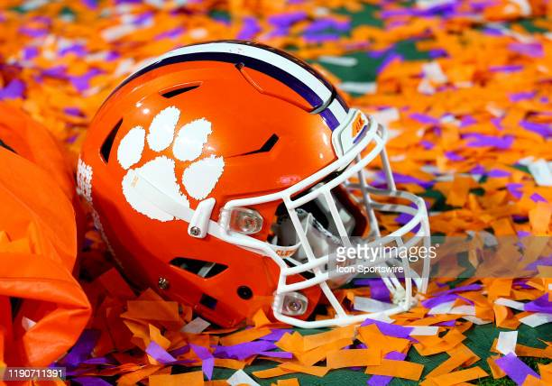 Clemson Tigers helmet after the win during the PlayStation Fiesta Bowl college football game between the Clemson Tigers and the Ohio State Buckeyes...