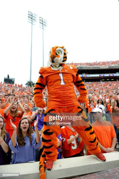 Clemson Tigers mascot gets the crowd riled up during the ACC college football game between the Wake Forest Demon Deacons and the Clemson Tigers on...
