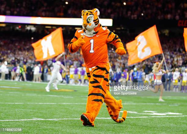Clemson Tigers mascot The Tiger runs onto the field prior to the College Football Playoff National Championship Game between the LSU Tigers and the...