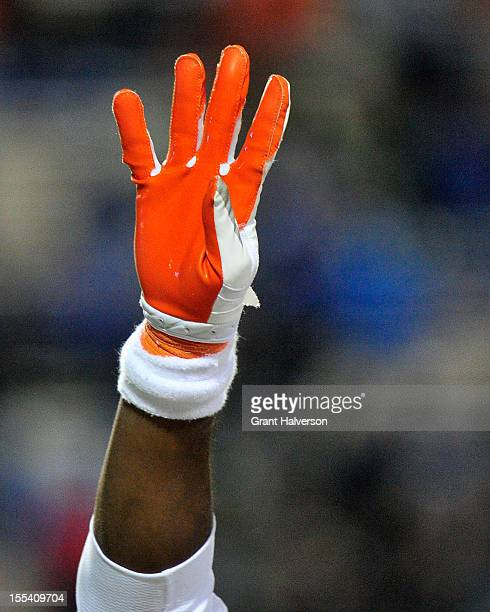 Clemson Tigers player signals the start of the fourth quarter during a win over the Duke Blue Devils at Wallace Wade Stadium on November 3, 2012 in...