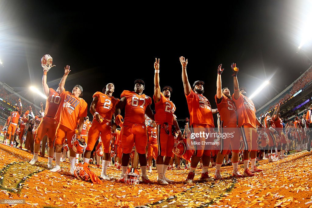 Clemson Tigers players celebrate defeating the Oklahoma Sooners with a score of 37 to 17 to win the 2015 Capital One Orange Bowl at Sun Life Stadium on December 31, 2015 in Miami Gardens, Florida.