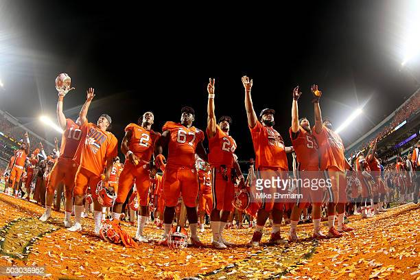 Clemson Tigers players celebrate defeating the Oklahoma Sooners with a score of 37 to 17 to win the 2015 Capital One Orange Bowl at Sun Life Stadium...
